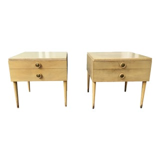 Paul Frankl for Johnson Furniture Cork Topped Nightstands - a Pair For Sale