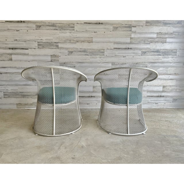 White Mid Century Wire Formed Patio Set For Sale - Image 8 of 13