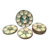 Image of Antique Majolica Oyster Platters - Set of 8 For Sale