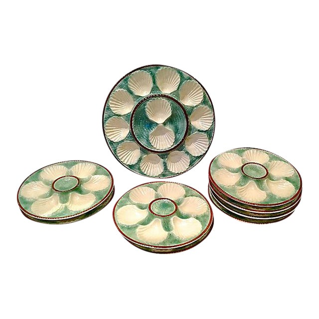 Antique Majolica Oyster Platters - Set of 8 For Sale