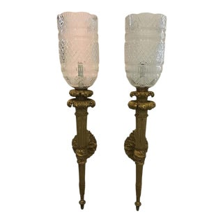 1860s Large French Gilt Bronze Torch Sconces For Sale