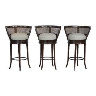 1970s Vintage Faux Bamboo Bar Stools - Set of 3 For Sale