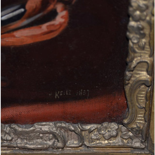 Gray Early 19th Century Portrait of George Washington Oil Painting C.1837 For Sale - Image 8 of 11