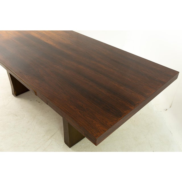 Brown Edward Wormley for Dunbar Mid Century Rosewood and Bronze Executive Desk For Sale - Image 8 of 10