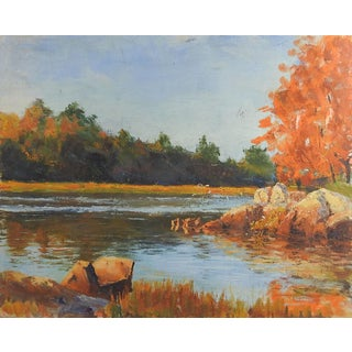 Autumn River Landscape Painting For Sale