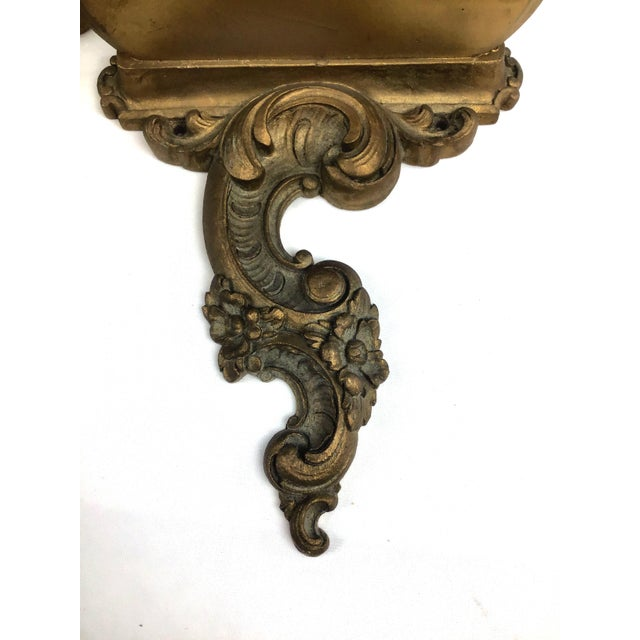 Gilded golden carved genuine MCM Syroco Wood wall sconces. In wonderful condition and just the right size for display of...