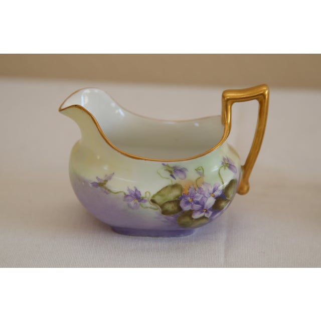 Limoges Hand-Painted Sugar & Creamer - Image 3 of 5