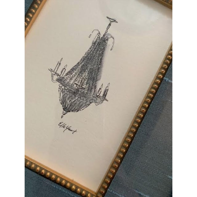 This Elle Yount original piece of art -French Chandelier #2 has been hand drawn with ink and painted using watercolor. It...