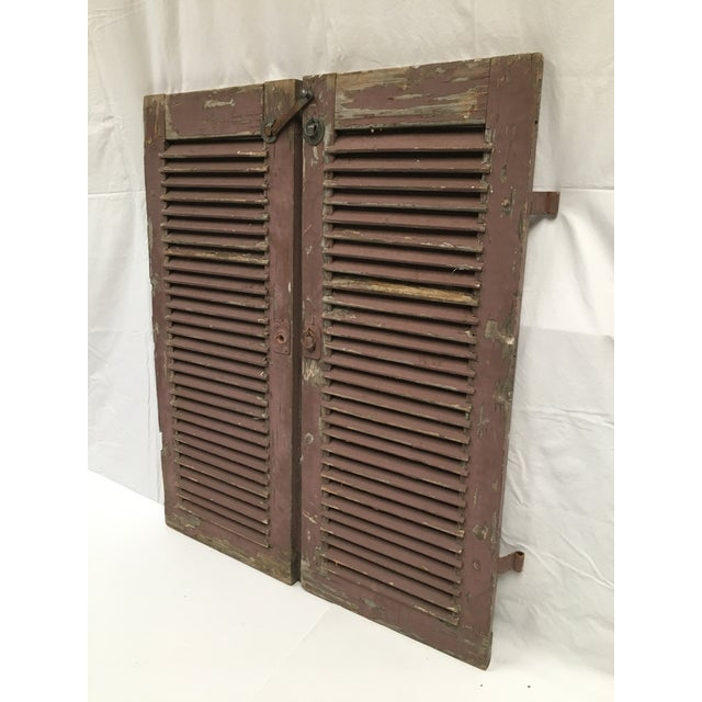 French Antique French Painted Shutters - A Pair For Sale - Image 3 of 10