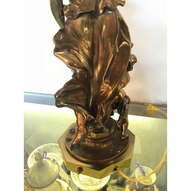 Figurative Large Duplex Bronze Figure Woman and a Child Holding a Custom Glass Shade For Sale - Image 3 of 13