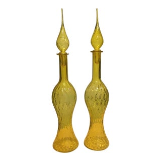 Vintage Empoli Italy Mid Century Modern Yellow Glass Quilted Diamond Optic Pattern Decanters & Stoppers - a Pair For Sale