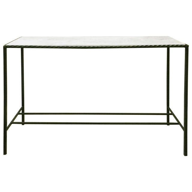Metal Rectangular White Marble Top Console Table - Image 4 of 4