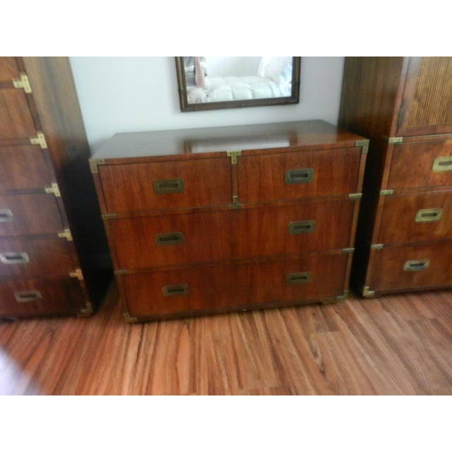 Campaign Henredon Campaign Style Double Dresser, Pecan For Sale - Image 3 of 3