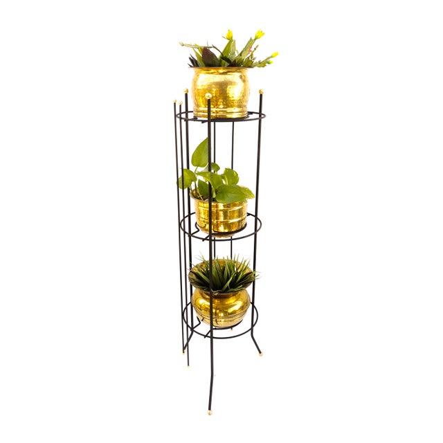 Black Mid-Century Atomic Era 3-Tier Metal Plant Stand ||Retro/Industrial Chic Black & Gold Tri-Level Vertical Tall Planter Stand || Sputnik Design For Sale - Image 8 of 11