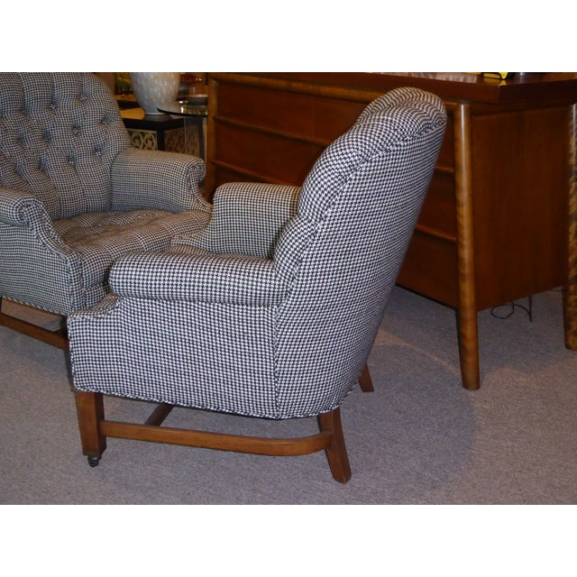 Beefy Edwardian Style Button Tufted Club Chairs in Houndstooth - Image 9 of 11