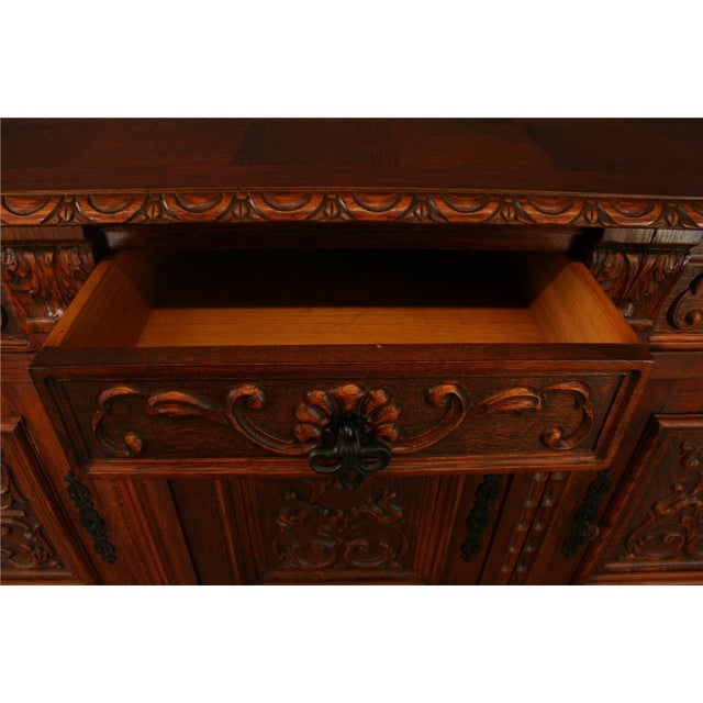 Brown 1950s French Renaissance-Style Oak Sideboard For Sale - Image 8 of 8