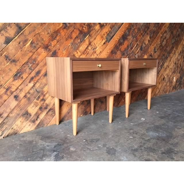 Custom Mid Century Style Walnut Nightstands - a Pair For Sale - Image 4 of 5