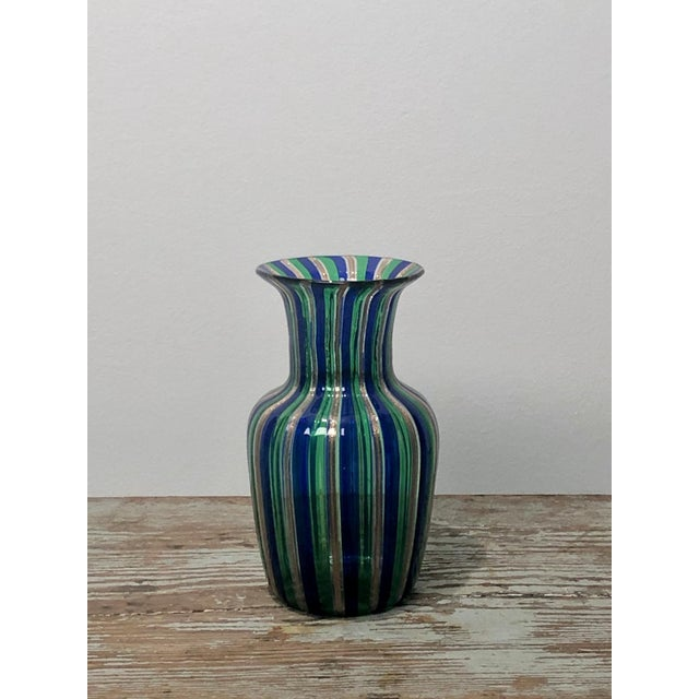 1950s Murano Green and Blue Striped Vase, Italy Circa 1950 For Sale - Image 5 of 5