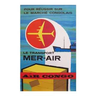 1960s Belgian Airline Poster, Sabena Air Congo For Sale