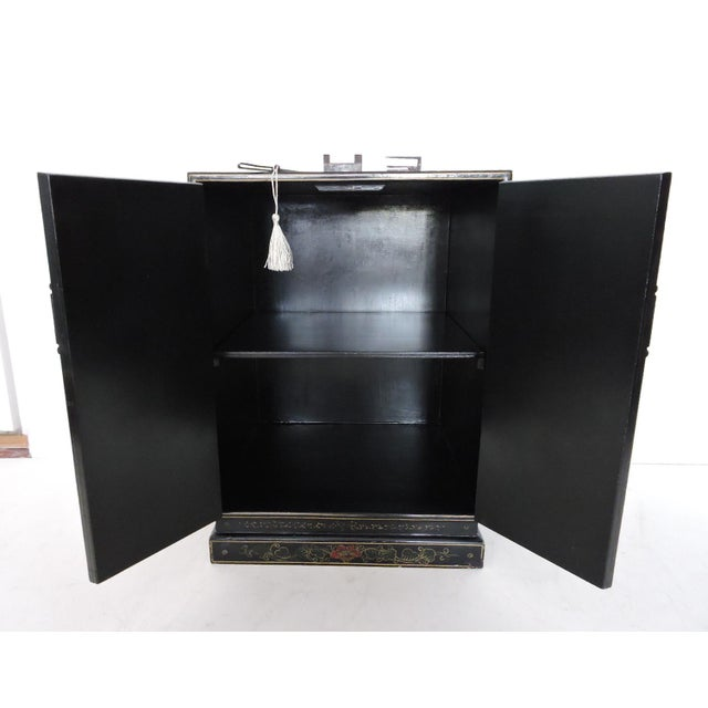 Black Oriental Lacquered Cabinet & Lock For Sale - Image 4 of 6