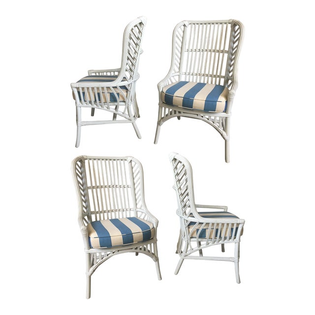 Vintage Ficks Reed Rattan High Back Dining Chairs, Set of 4 For Sale