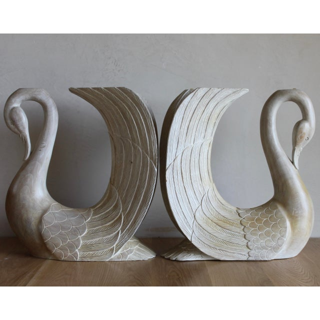 Wood Vintage Hand Carved Solid Wood Twin Swan Console Table or End Table/Bar Table Bases - a Pair For Sale - Image 7 of 10