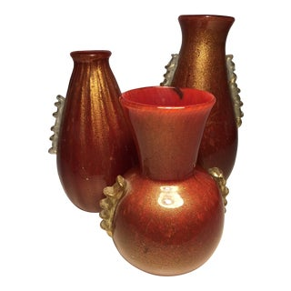 Red Murano Glass Vases With Gold - Set of 3 For Sale
