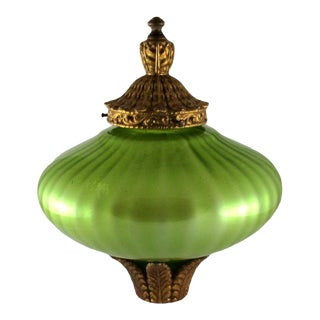 Vintage Hand Blown Chartreuse Swag Lamp Pendant Shade With Painted Metal Fixtures For Sale