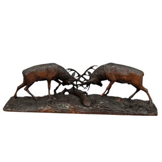 Outstanding Wooden Carved Fighting Stags By K. Bach 1946 For Sale