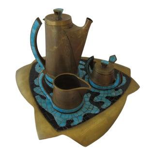Brass Inlaid Glass Tile Tea Set by Mexican Modern Artist Salvador Teran For Sale