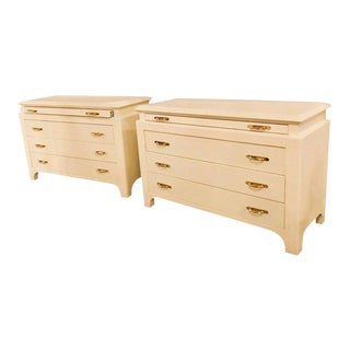 Karl Springer Style Linen Wrapped Commodes or Chests - A Pair