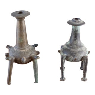 Pair of Patinated Bronze Incense Holders For Sale