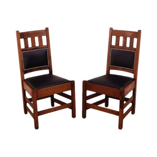 Stickley Brothers Antique Mission Oak Pair Side Chairs For Sale