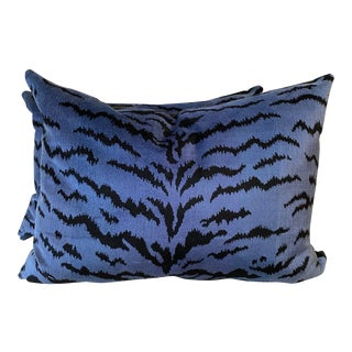 "Scalamandre ""Tigre Blues & Black 18""x24"" Pillows-A Pair For Sale"