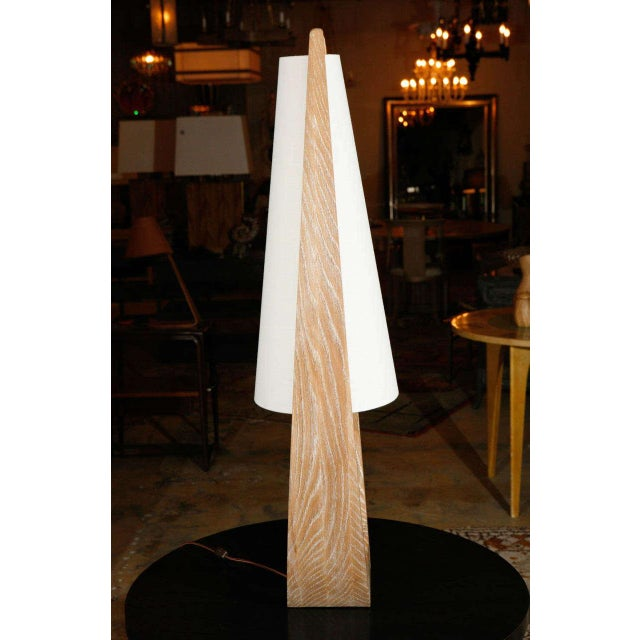 Paul Marra Wishbone Table Lamp in Ceruse Oak For Sale - Image 4 of 7