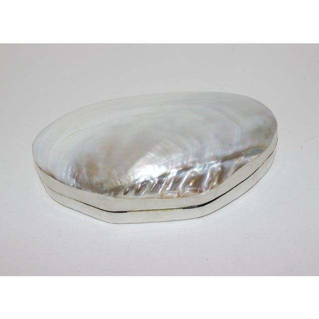 Pearlized Shell and Capiz Shell Trinket Box Velvet Lining For Sale In West Palm - Image 6 of 13