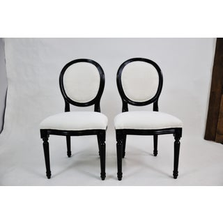 Pair of Vintage French Louis XV Style Black Lacquer Dining /Side Chairs Newly Upholstered Preview