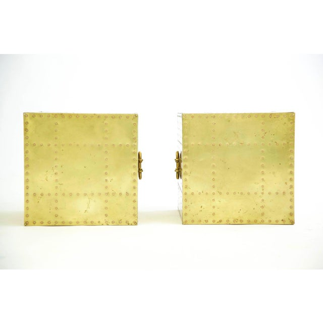 Mid-Century Modern Sarreid Brass Cube End Tables For Sale - Image 3 of 8