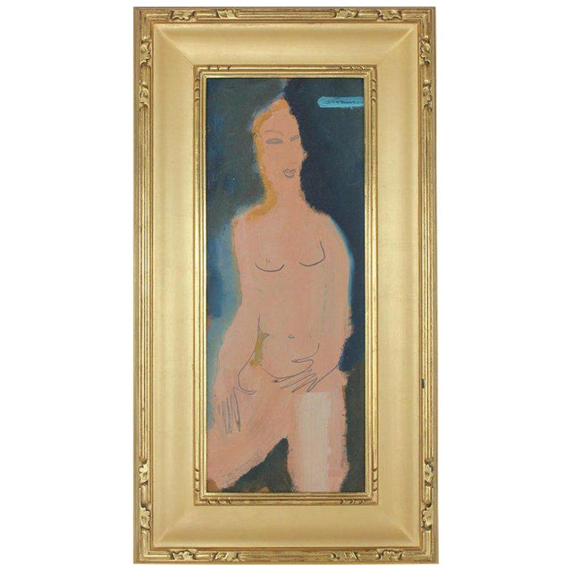 Midcentury Abstract Figure Oil Painting by Sterling Boyd Strauser For Sale