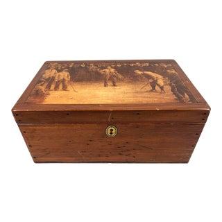 Vintage Golfing Scene Wooden Box For Sale