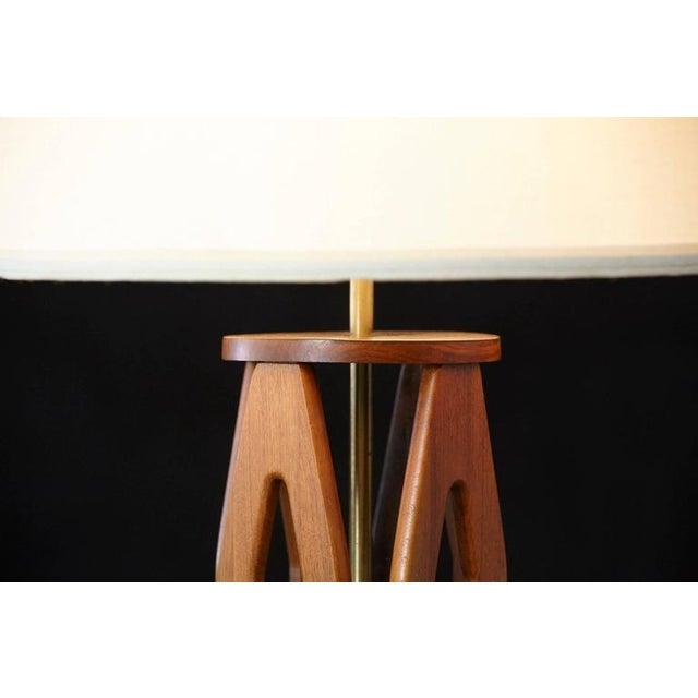 Geometric Teak Table Lamp with Brass Base For Sale - Image 10 of 10