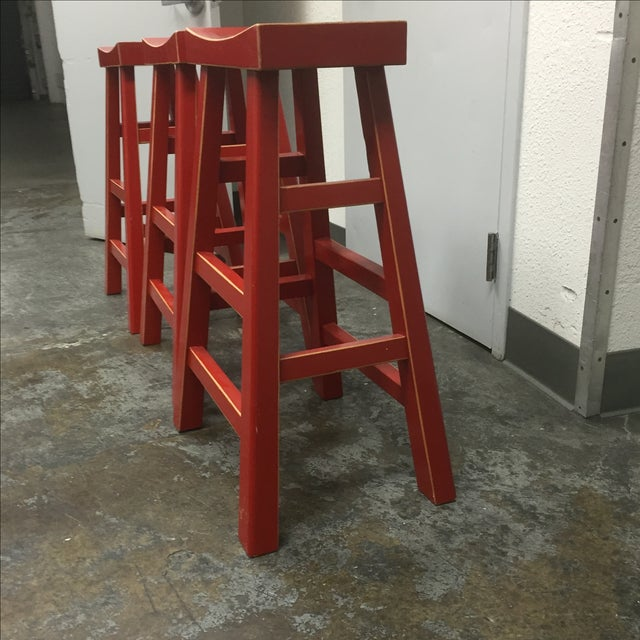 Red Solid Wood Stools - Set of 3 - Image 8 of 10