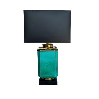 Vintage Teal Ceramic Lamp With Brass Detail and Shade For Sale