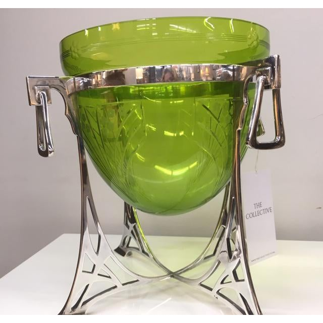 excellent condition green glass epergne; used for flowers or table centerpiece.