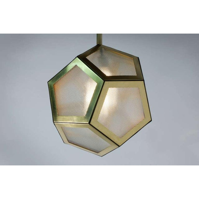 Traditional Contemporary Brass Black Leather and Industrial Glass Hanging Pentagon Lantern For Sale - Image 3 of 5