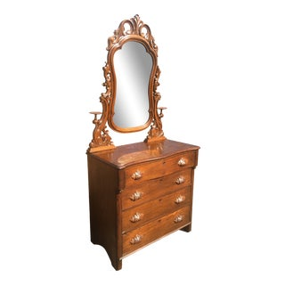Mid 19th Century Victorian Pennsylvania Crafted Red Oak Dresser With Mirror For Sale