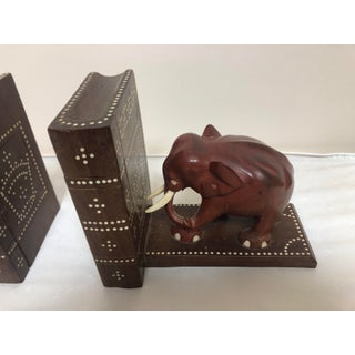 1950s Vintage Walnut and Leather Elephant Book Ends - A Pair Preview
