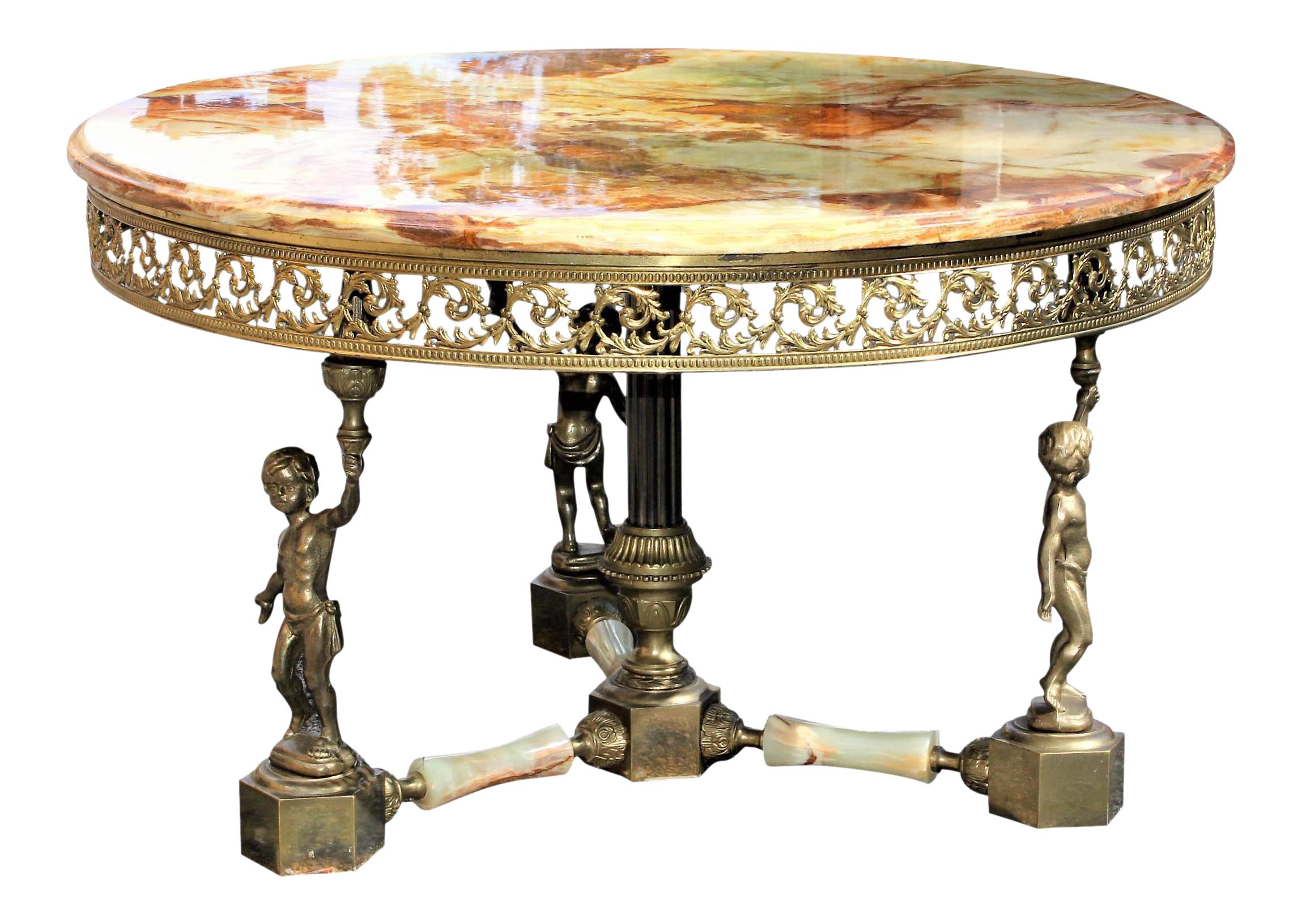 1940s Maison Jansen Round Onyx Top Bronze Coffee / Cocktail Table For Sale