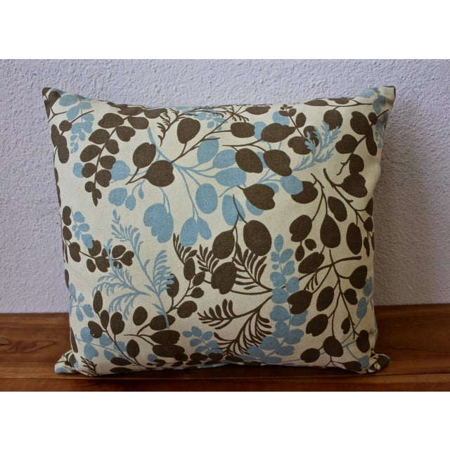Blue and Brown Leaf-Pattern Pillow - Image 2 of 2