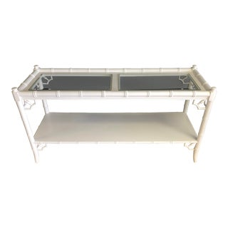 White Faux Bamboo Sofa or Foyer Table With Fretwork For Sale